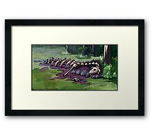 Dragon's corpse at the edge of a swamp lake Framed Print