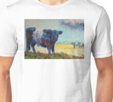 Belted galloway cow Dartmoor landscape painting Unisex T-Shirt