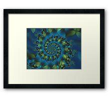 Green & Blue Spiral Fractal  Framed Print