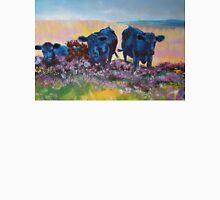 Black Cows on dartmoor landscape painting Unisex T-Shirt