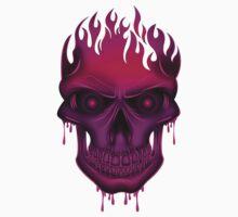 Flame Skull - Hot Pink (2) Kids Tee
