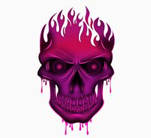 Flame Skull - Hot Pink Womens Fitted T-Shirt