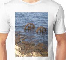 Old train wheels in water Strahan Tasmania Unisex T-Shirt