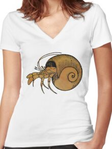 Hermit Crab Women's Fitted V-Neck T-Shirt