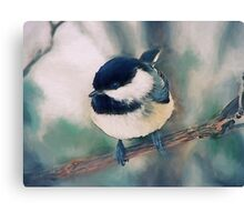 Cute Black-capped chickadee painting Canvas Print