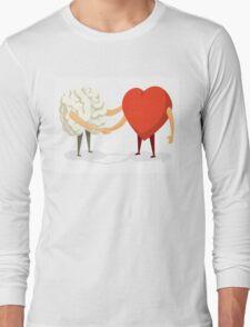 Brain and heart shaking hands Long Sleeve T-Shirt