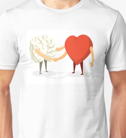 Brain and heart shaking hands Unisex T-Shirt