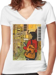 Urban Music Student Women's Fitted V-Neck T-Shirt