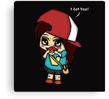 I Got You! Pokemon Trainer Girl (In Black Background) Canvas Print