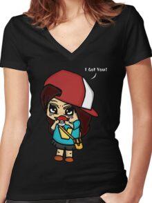 I Got You! Pokemon Trainer Girl (In Black Background) Women's Fitted V-Neck T-Shirt