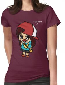 I Got You! Pokemon Trainer Girl (In Black Background) Womens Fitted T-Shirt
