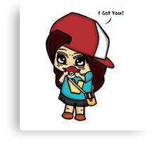 I Got You! Pokemon Trainer Girl (In White Background) Canvas Print