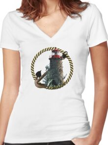 Demise Of The Lighthouse Women's Fitted V-Neck T-Shirt