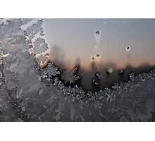Frost on window. Sunrise. Small town of Norway. Photographic Print