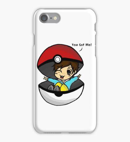You Got Me! Pokemon Trainer Boy (In White Background) iPhone Case/Skin