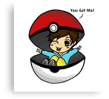You Got Me! Pokemon Trainer Boy (In White Background) Canvas Print