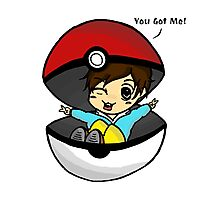 You Got Me! Pokemon Trainer Boy (In White Background) Photographic Print