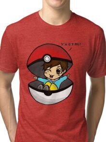 You Got Me! Pokemon Trainer Boy (In White Background) Tri-blend T-Shirt