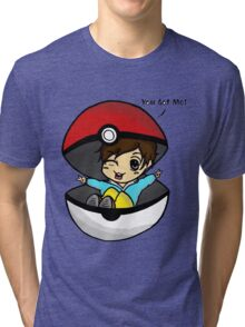 You Got Me! Pokemon Trainer Boy (In White Background) Tri-blend T-Shirt