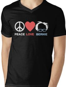 Peace Love Bernie Mens V-Neck T-Shirt