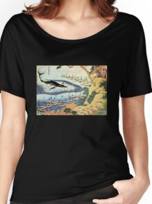 'Ocean Landscape and Whale' by Katsushika Hokusai (Reproduction) Women's Relaxed Fit T-Shirt