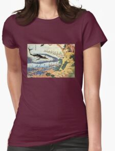 'Ocean Landscape and Whale' by Katsushika Hokusai (Reproduction) Womens Fitted T-Shirt