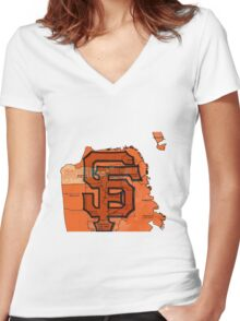 San Francisco Giants Map Women's Fitted V-Neck T-Shirt