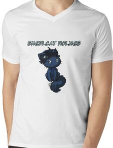 Sherlcat Holmes Mens V-Neck T-Shirt