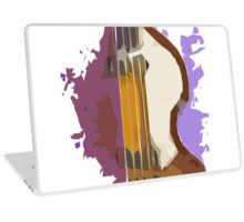 Background purple and vintage guitar bass Laptop Skin