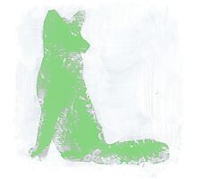 Mint Green Finger Painted Arctic Fox Photographic Print