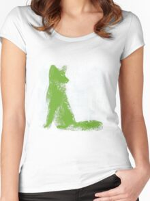 Lime Green Finger Painted Arctic Fox Women's Fitted Scoop T-Shirt