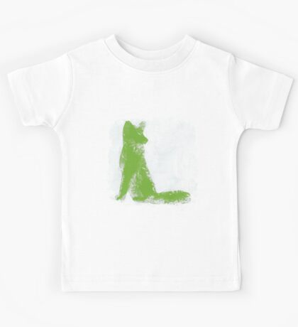 Lime Green Finger Painted Arctic Fox Kids Tee