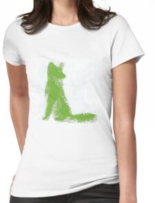 Lime Green Finger Painted Arctic Fox Womens Fitted T-Shirt