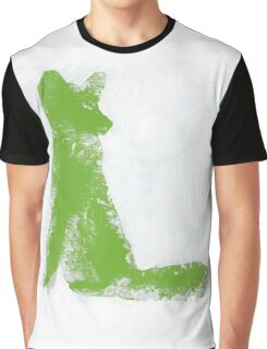Lime Green Finger Painted Arctic Fox Graphic T-Shirt