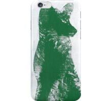 Forest Green Finger Painted Arctic Fox iPhone Case/Skin