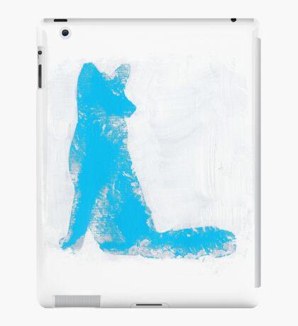 Cyan Finger Painted Arctic Fox iPad Case/Skin