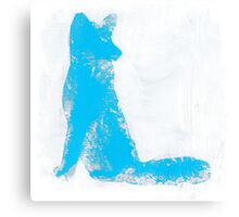 Cyan Finger Painted Arctic Fox Canvas Print