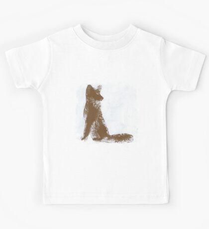 Brown Finger Painted Arctic Fox Kids Tee