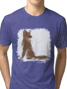 Brown Finger Painted Arctic Fox Tri-blend T-Shirt
