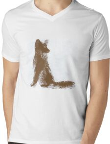 Brown Finger Painted Arctic Fox Mens V-Neck T-Shirt