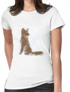 Brown Finger Painted Arctic Fox Womens Fitted T-Shirt