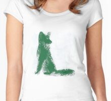 Forest Green Finger Painted Arctic Fox Women's Fitted Scoop T-Shirt