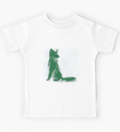 Forest Green Finger Painted Arctic Fox Kids Tee