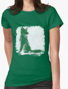 Forest Green Finger Painted Arctic Fox Womens Fitted T-Shirt