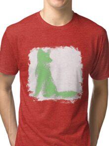 Mint Green Finger Painted Arctic Fox Tri-blend T-Shirt
