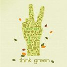 Earth Day Eco-Friendly Environmental Peace Hand Think Green by doonidesigns
