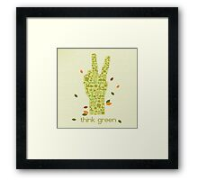Earth Day Eco-Friendly Environmental Peace Hand Think Green Framed Print