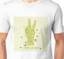 Earth Day Eco-Friendly Environmental Peace Hand Think Green Unisex T-Shirt