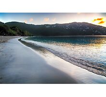 Tranquil Caribbean Beach at Sunset Photographic Print