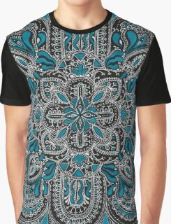 Black, white, turquoise mandala pattern  Graphic T-Shirt
